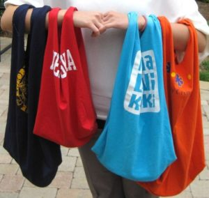 Plastic bag ban can lead to recycled t-shirt grocery bags